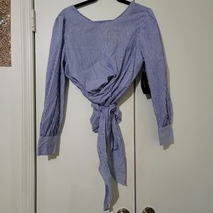 Zara Stripe Wraparound Top with Open Back